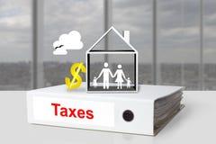 Van het de belastingenhuis van het bureaubindmiddel het symbool van de de familiedollar Royalty-vrije Stock Afbeelding