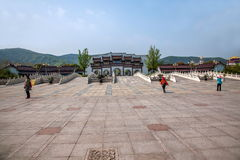 Van het de Berg de Toneelgebied van Lingshanboedha Weg Gatehouse van Lingshan Boedha Bodhi Royalty-vrije Stock Afbeeldingen