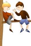 Van het de boomkarakter van jongensvrienden de illustratie van de het beeldverhaalstijl wh Royalty-vrije Stock Foto's