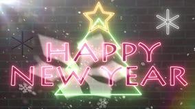 Van het de boomneon van het neon de Gelukkige nieuwe Jaar banner van de het tekengelukwens met ster en sneeuwvlokken dalend knipo vector illustratie