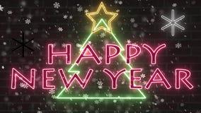 Van het de boomneon van het neon de Gelukkige nieuwe Jaar banner van de het tekengelukwens met ster en sneeuwvlokken dalend knipo stock illustratie
