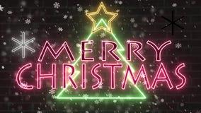 Van het de boomneon van neon de Vrolijke Kerstmis banner van de het tekengelukwens met ster en sneeuwvlokken dalend knipoogje op  royalty-vrije illustratie