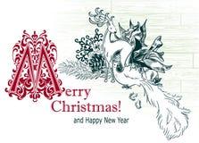 Van het de boomspeelgoed van de kerstkaart vector retro stijl getrokken schets de hertenvogel stock afbeeldingen