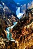 Van het de caniondorp van het Yellowstone de Nationale Park hogere val van de Bergen van het yellowstonelandschap en bossen de mo stock afbeeldingen
