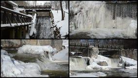 Van het de cascade retro brug bevroren ijs van de beekwaterval de ijskegelswinter stock video