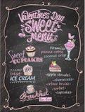 Van het de dag zoet menu van Valentine ` s het bordontwerp Stock Fotografie