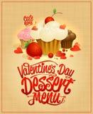 Van het de dagdessert van Valentine ` s het menuontwerp Royalty-vrije Stock Foto
