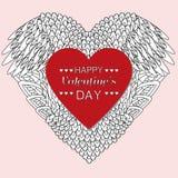 Van het de dagthema van Valentine de groetkaart gekleurd Stock Foto