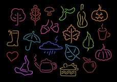 Van het de dankzeggings kleurrijke neon van de de herfstdaling de tekenselementen royalty-vrije illustratie