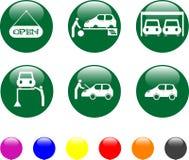 Van het de dienst de groene pictogram van de auto glanzende knoop royalty-vrije illustratie