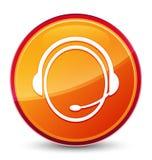 Van het de dienstpictogram van de klantenzorg de speciale glazige oranje ronde knoop vector illustratie