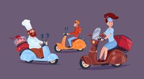Van het de Dienstpictogram van de voedsellevering de Fietsen van de Koerierspeople riding motor royalty-vrije illustratie