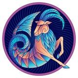 Van het de dierenriemteken van Steenbok van het de horoscoopsymbool de blauwe vector stock foto's