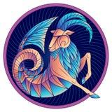 Van het de dierenriemteken van Steenbok van het de horoscoopsymbool de blauwe vector stock afbeeldingen