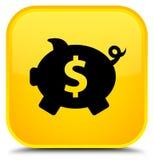 Van het de dollarteken van het spaarvarken het pictogram speciale gele vierkante knoop Royalty-vrije Stock Afbeeldingen