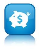 Van het de dollarteken van het spaarvarken het pictogram speciale cyaan blauwe vierkante knoop Royalty-vrije Stock Afbeelding