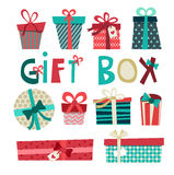 Van het de doosbeeldverhaal van de verjaardagsgift de vectorreeks Gift het verpakken met linten Stock Foto's