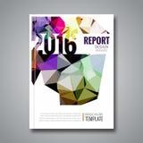 Van het de driehoeks geometrische prospectus van het dekkingsrapport kleurrijke het ontwerpachtergrond, het tijdschrift van de de Royalty-vrije Stock Afbeeldingen