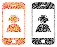 Van het de Exploitantcontact van pixelsmartphone de Pictogrammen van het het Portretmozaïek vector illustratie