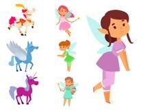 Van het de feemeisje van de feeënprinses beeldverhaal van de het karakter leuke mooie stijl het vector weinig het kostuum magisch Stock Fotografie