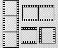 Van het de fotokader van de filmstrook het vectormalplaatje dat op transparante geruite achtergrond wordt geïsoleerd Stock Afbeelding