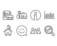 Van het van de gelddiagram, Glimlach en Salaris pictogrammen Vacature, Communicatie en Analytics-tekens Royalty-vrije Stock Foto