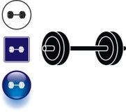 Van het de gewichtensymbool van Barbell het teken en de knoop Royalty-vrije Stock Foto's