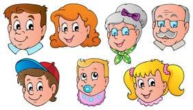 Van het de gezichtenthema van de familie beeld 1 stock illustratie