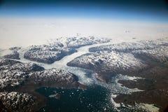 Van het de gletsjer luchtlandschap van Groenland witte bergen 8 stock afbeeldingen