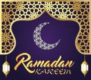 Van het de groetontwerp van Ramadan Kareem de Islamitische koepel van de de lijnmoskee met Arabische patroonlantaarn en kalligraf vector illustratie