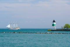 Van het de Havenzuidoosten van Chicago de Vuurtoren van Guidewall Stock Foto