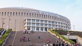 Van het de Havikenhonkbal van Fukuoka de het teamverdedigers gaan het Yahuoku-stadion in royalty-vrije stock foto's