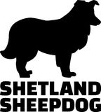 Van het de Herdershondsilhouet van Shetland het echte woord vector illustratie