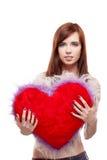 Van het de holdingsbont van het meisje het rode hart Stock Foto's