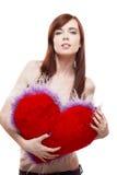 Van het de holdingsbont van het meisje het rode hart Royalty-vrije Stock Afbeeldingen