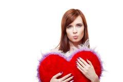 Van het de holdingsbont van het meisje het rode hart Stock Afbeeldingen