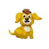 Van het de hondhuisdier van de plasticine 3D baby gele van het het Nieuwjaar 2018 symbool dierlijke geïsoleerde beeldhouwwerk Stock Afbeelding