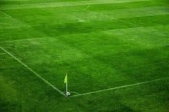 Van het de hoogtegras van het voetbalhof de close-up van de poollijnen royalty-vrije stock afbeeldingen