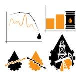 Van het de industrieelementen en diagram val en stijging olieprijzen Royalty-vrije Stock Foto