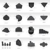 Van het de informatie grafische malplaatje van het grafiekontwerp 3d zwarte kleur Stock Afbeeldingen