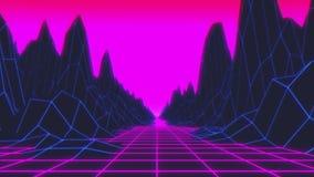van het de jaren '80 Retro Futurisme Lijn Als achtergrond stock footage