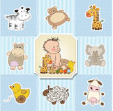 Van het de jongensmalplaatje van de baby de douchekaart Royalty-vrije Stock Fotografie