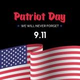 Van het de kaartverstand van de patriotdag de vector Amerikaanse vlag Royalty-vrije Stock Foto's