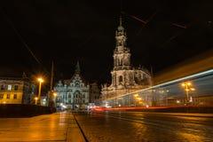 Van het de Kerk Donkere Weer van Dresden Katholieke de Brugmening Buitenar Stock Fotografie