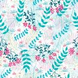 Van het de kersenmout van het bloemfruit van de de palmvlinder het naadloze patroon vector illustratie
