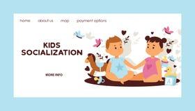 Van het de kinderenmeisje van de jonge geitjes vectorwebpagina de jongenskarakters in eerste het beeldverhaal van de liefdeachter stock illustratie