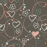 Van het de kleuren naadloze patroon van de hart grafische krabbel bruine de illustratievector stock illustratie