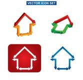 Van het de kleurenbouw en huis pictogramreeks Stock Foto