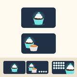 Van het de kleurenconcept van Cupcake de blauwe adreskaartjes, de korting en promotio Stock Foto