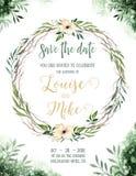 Van het de kleurenhuwelijk van het waterverfgroen de uitnodigingskaart met groene en gouden elementen document textuur met bloeme royalty-vrije illustratie